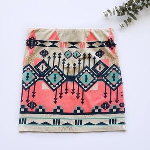 Freeway Skirts - Freeway Aztec Printed Mini Pencil Skirt Size Small